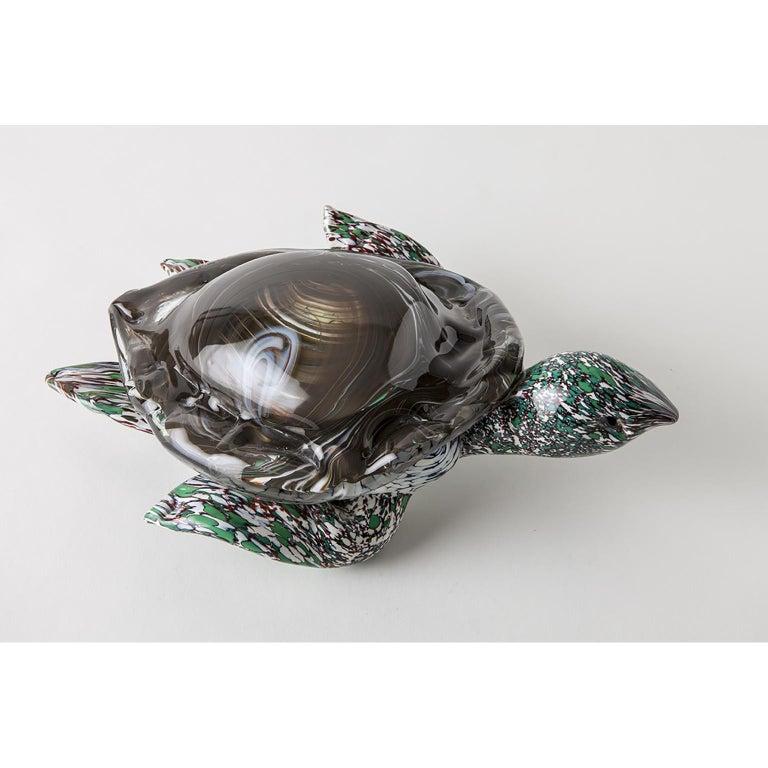 Contemporary Artistic Handmade Murano Glass Sculpture Aquamarine Turtle For Sale