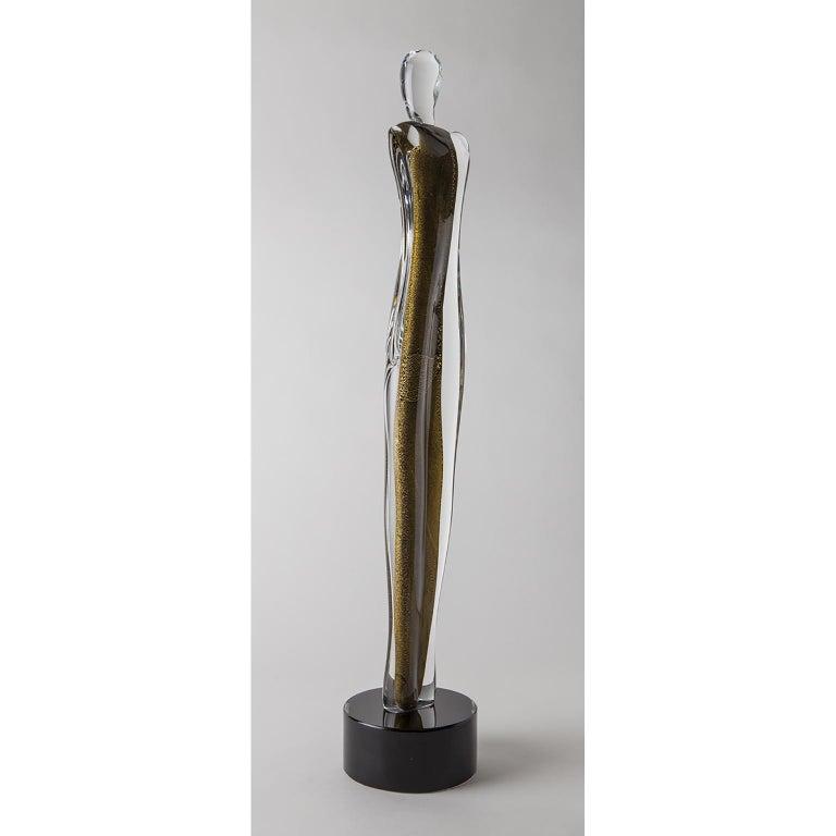 Artistic Handmade Murano Glass Sculpture Gold Soul In New Condition For Sale In Murano, IT