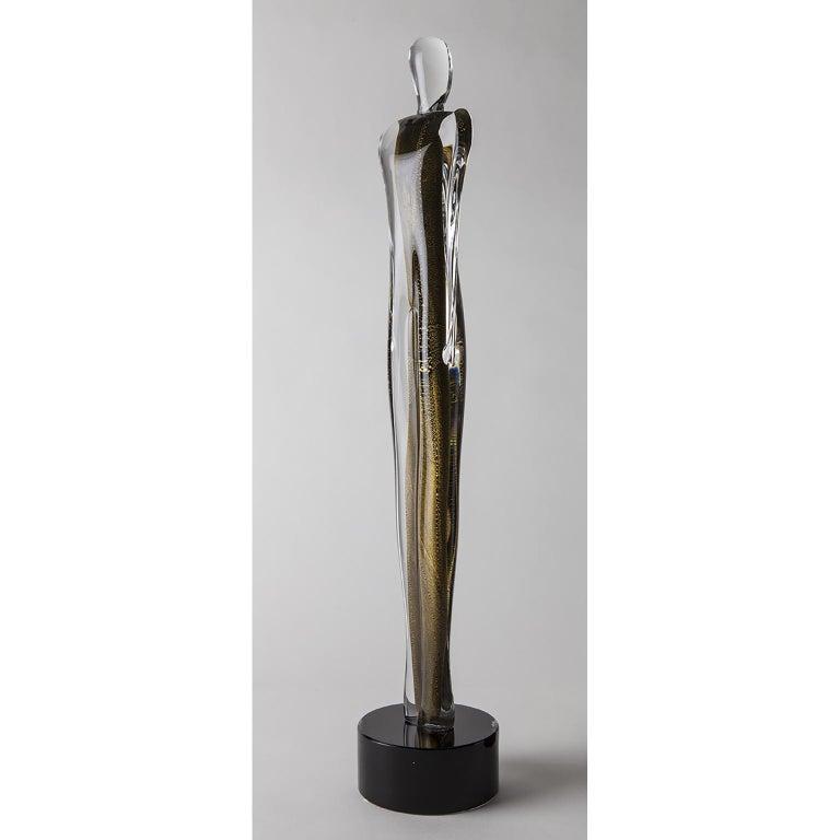 Contemporary Artistic Handmade Murano Glass Sculpture Gold Soul For Sale
