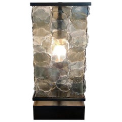 Artistic Large Sculptural Table Lamp with Metal Base and Black Fabric Cord