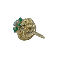 Artistic Midcentury Flower Motif Emerald and Diamond 18k Gold Textured Dome Ring