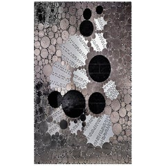 Artistic Mosaic Handmade on Aluminum Panel Glass and Marble Mosaic Platinum Leaf