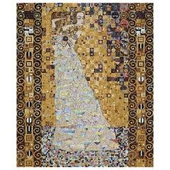 Artistic Mosaic Handmade on Aluminum Panel Gold Leaf Customizable