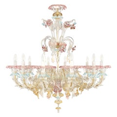 Artistic Murano Rezzonico Chandelier 10 Arms Glass Multi-Color by Multiforme