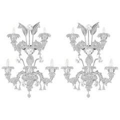 Artistic Murano Rezzonico Sconce 3+2arms Clear Glass Nabucco by Multiforme