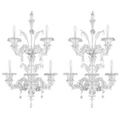 Artistic Murano Rezzonico Sconce 3+2 Arms Clear Glass Toffee by Multiforme