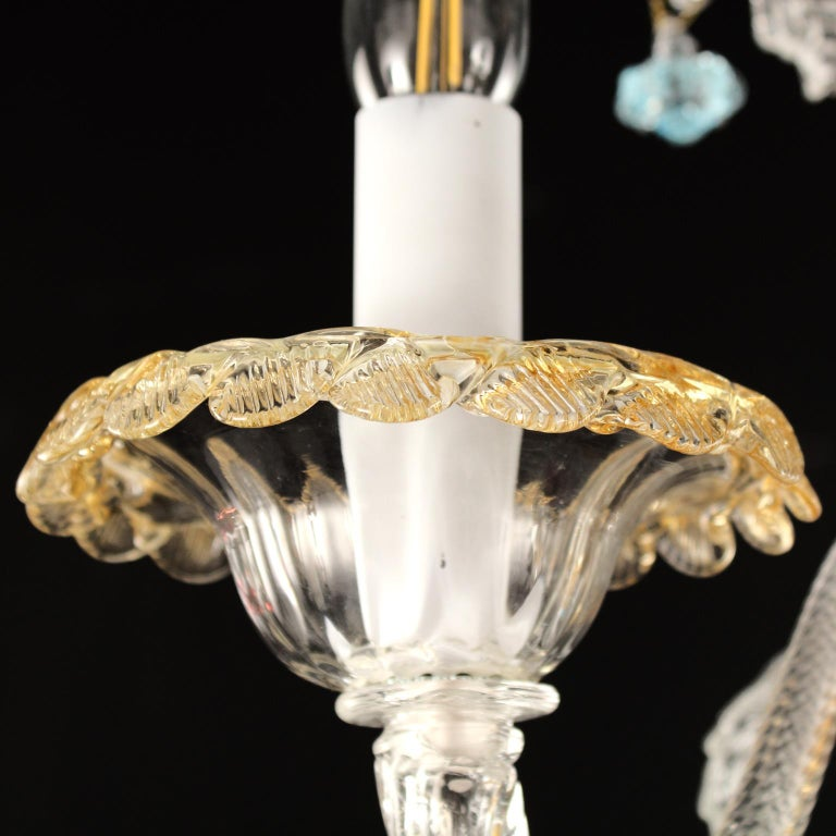 Artistic Murano Sconce 3+2 Arms Clear and Multi-Color Glass Toffee by Multiforme In New Condition For Sale In Trebaseleghe, IT