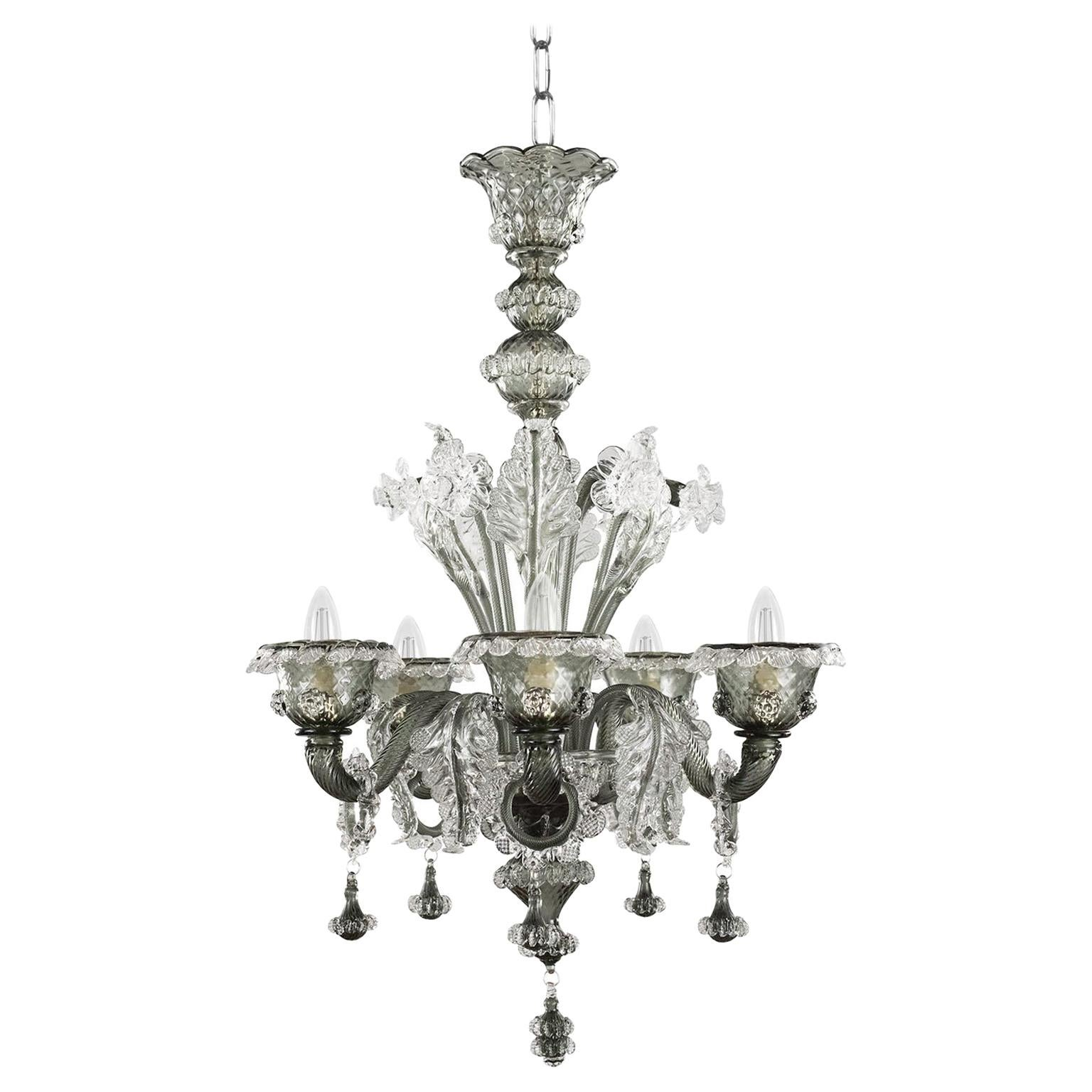 Artistic Rich Chandelier, 6 Arms Clear and Dark Grey Murano Glass by Multiforme