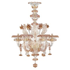 Artistic Rich Chandelier, 6 Arms Clear Murano Glass, Color Details by Multiforme