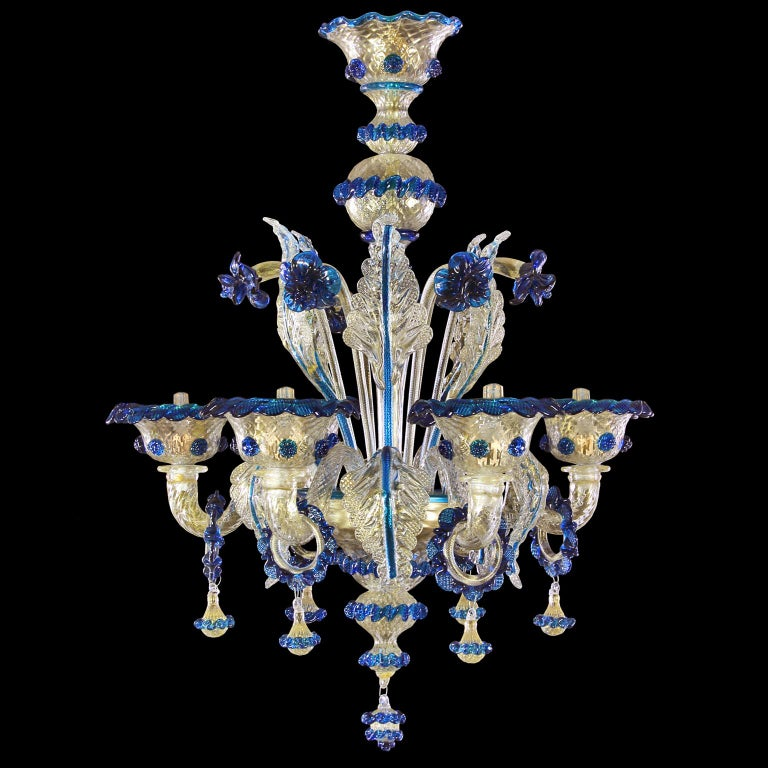 Galliano chandelier, 6-light, gold Murano glass, blue details by Multiforme.