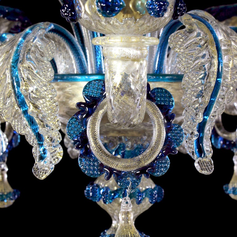 Other Artistic Rich Chandelier, 6 Arms Gold Murano Glass Blue Details by Multiforme For Sale