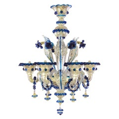 Artistic Rich Chandelier, 6 Arms Gold Murano Glass Blue Details by Multiforme