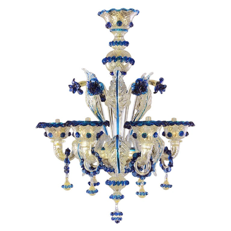 Artistic Rich Chandelier, 6 Arms Gold Murano Glass Blue Details by Multiforme For Sale
