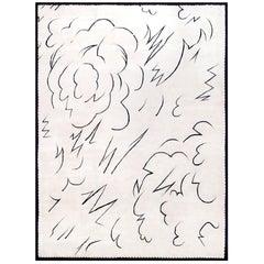 "Artistic Silk Rug by Boccara, Exclusive Design ""Zeus"" White"