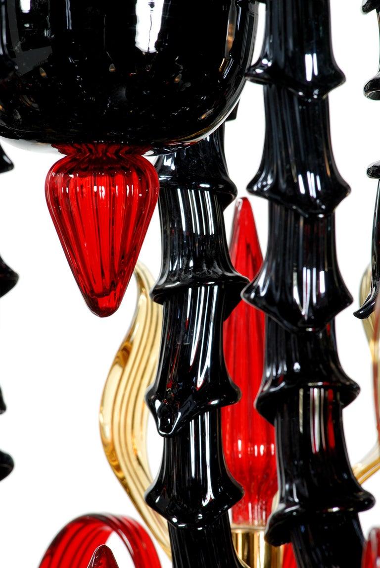 Hand-Crafted Artistich Handmade Ca' Rezzonico Murano Glass Chandelier For Sale