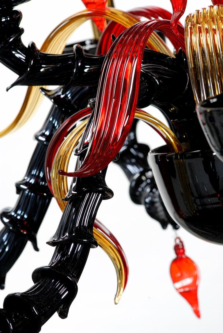 Blown Glass Artistich Handmade Ca' Rezzonico Murano Glass Chandelier For Sale
