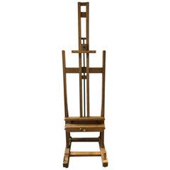 Artists Easel circa 1890, Superb Quality, Rare Winding Mechanism