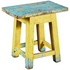 Artist's Painting Stool in Blue and Yellow Painted Wood