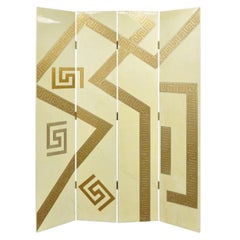 Artmax Decorator Greek Key Hollywood Regency Style 4-Panel Screen Room Divider