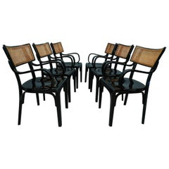 Artnouveau Black Wood and Vienna Straw Chairs, 1910