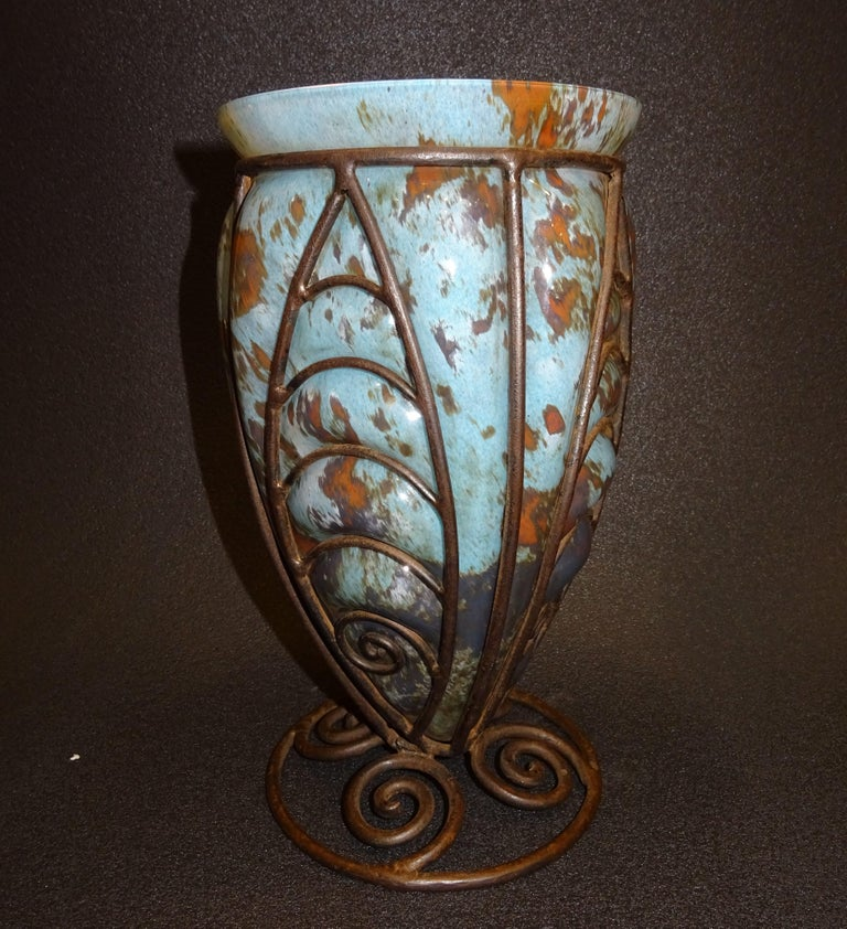 Amazing and beautiful French Art nouveau blue and brown Blownglass and forging Vase, from the Art Nouveau Nancy school, France.