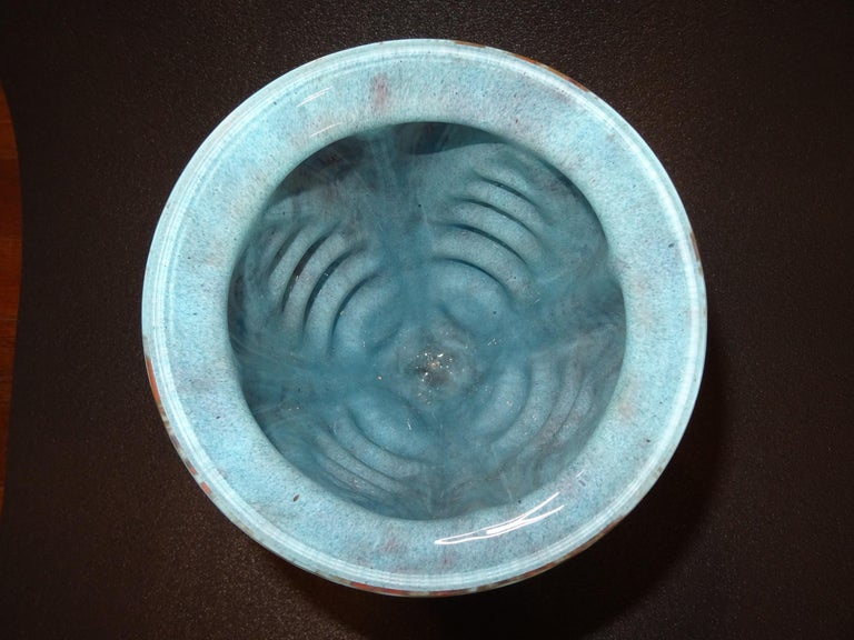 Art Nouveau French Blue Vase Blownglass and Forging, Nancy School In Good Condition For Sale In Valladolid, ES