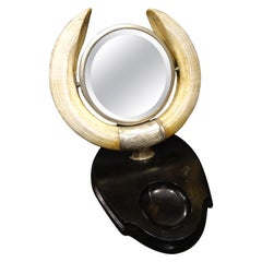 Artnouveau French Vanity Mirror Hippo Horns, Silver Ebonized Wood Tilting Mirror