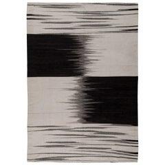 Artos, Turkish Modernist Chessboard Black and White Handmade Kilim Rug