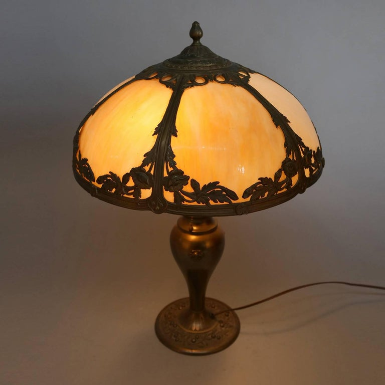 Arts and Crafts Arts & Crafts Antique Bradley & Hubbard School Filigree Slag Glass Lamp For Sale