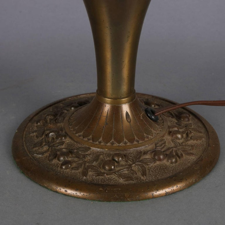 20th Century Arts & Crafts Antique Bradley & Hubbard School Filigree Slag Glass Lamp For Sale