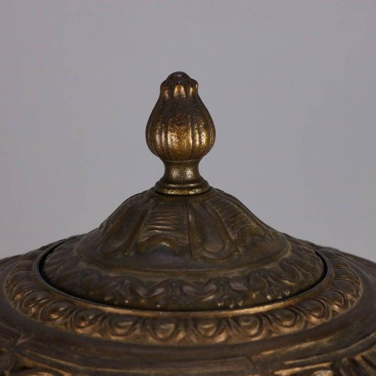 Metal Arts & Crafts Antique Bradley & Hubbard School Filigree Slag Glass Lamp For Sale