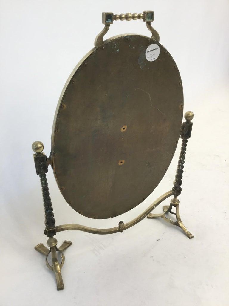 Arts & Craft Brass Vanity Tabletop Mirror For Sale 4