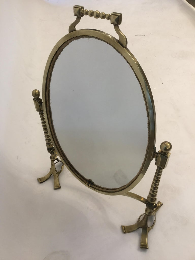 Arts and Crafts Arts & Craft Brass Vanity Tabletop Mirror For Sale