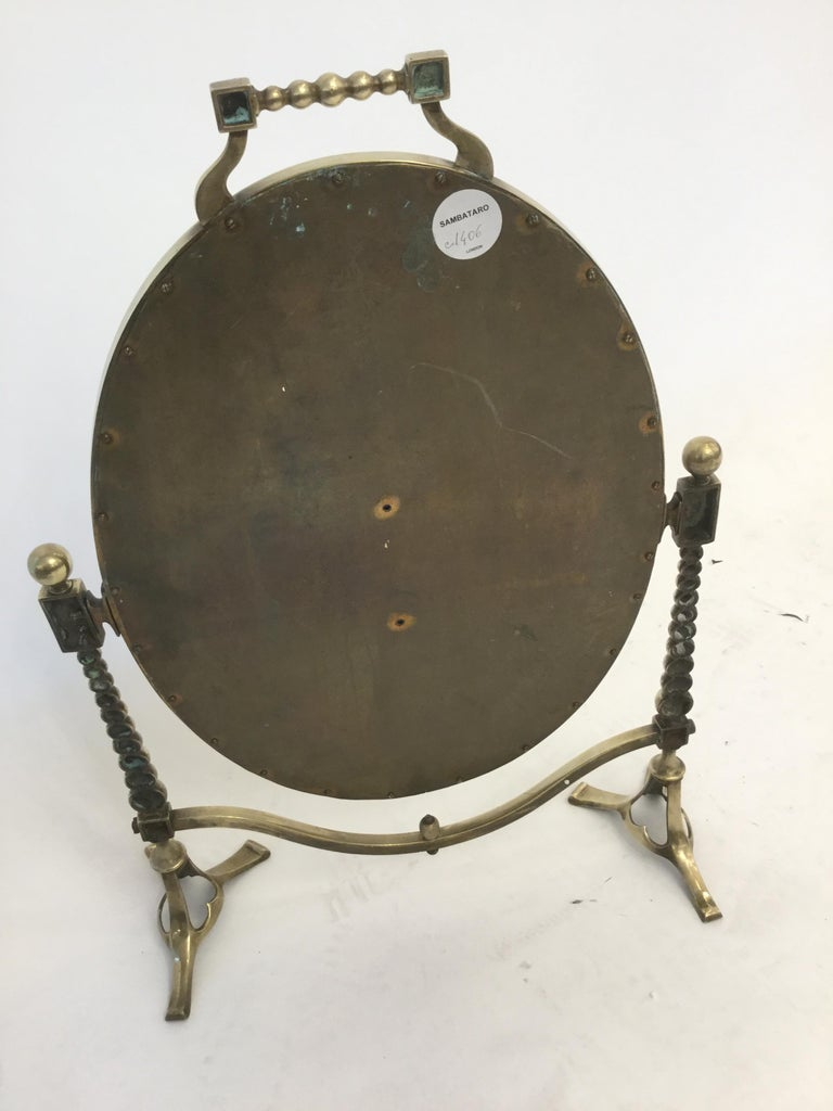 Arts & Craft Brass Vanity Tabletop Mirror For Sale 3