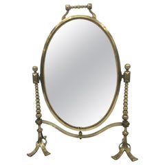 Arts & Craft Brass Vanity Tabletop Mirror