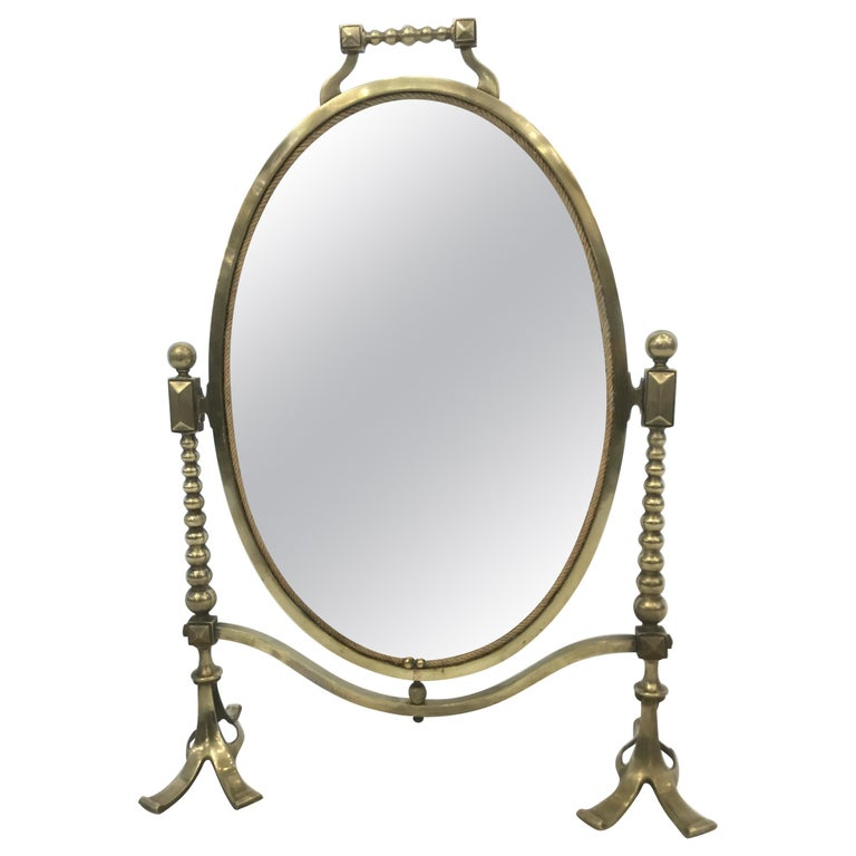 Arts & Craft Brass Vanity Tabletop Mirror For Sale
