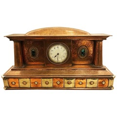 Arts & Craft Copper and Nickel Silver Mantel Clock with Ruskin Cabochons