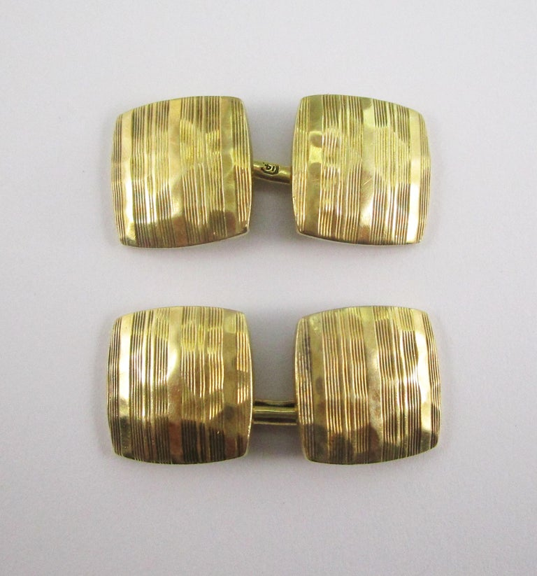 These fantastic cufflinks have a sleek square layout and are in 14k yellow gold with a unique hammer finish that adds to the distinct look of Arts and Crafts. The links have a beautiful aged color that is impossible to replicate- as they say, some