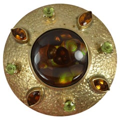 Arts & Crafts 9 Carat Yellow Gold Fire Agate Peridot and Citrine Brooch