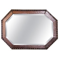Arts & Crafts Beaten Copper and Brass Mirror