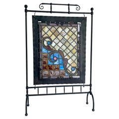 Arts & Crafts Black Iron and Stained Glass Fireplace Screen