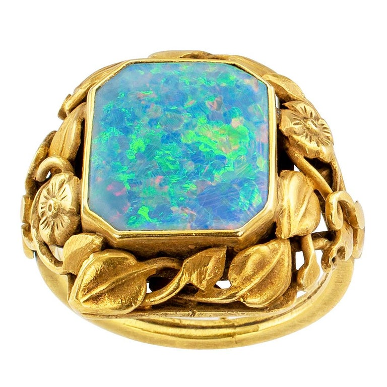 Arts and Crafts Arts & Crafts Black Opal Gold Ring For Sale