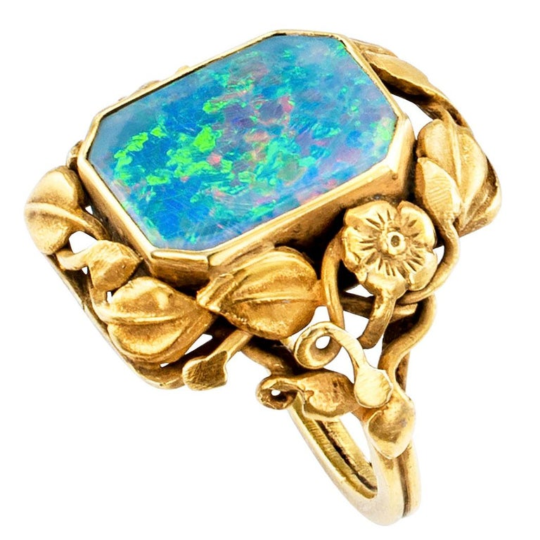 Arts & Crafts Black Opal Gold Ring In Good Condition For Sale In Los Angeles, CA
