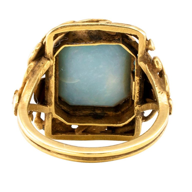 Arts & Crafts Black Opal Gold Ring For Sale 1