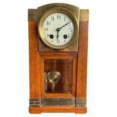 Arts & Crafts Brass & Wood Gustave Serrurier-Bovy Style Pendulum / Table Clock
