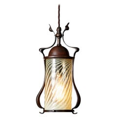 Arts and Crafts Bronze Hanging Lantern / Pendant Light, with Opaline Glass Shade