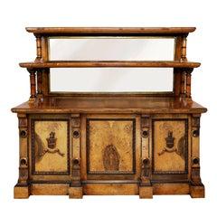 Arts and Crafts Burr Oak Serving Table/Cabinet, circa 1890