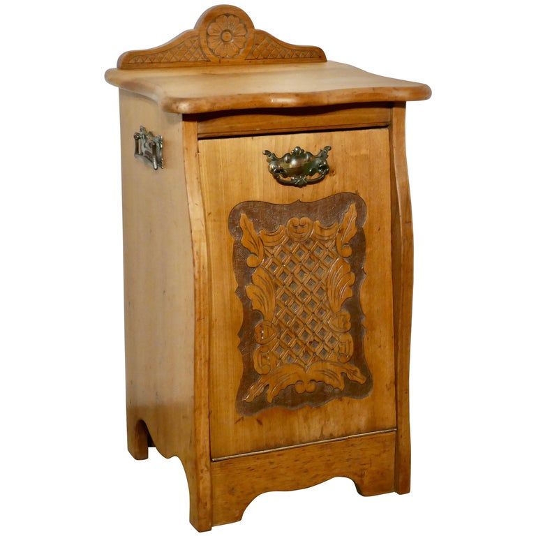 Arts & Crafts Carved Golden Walnut Purdonium, Coal Box For Sale