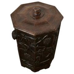 Arts & Crafts Carved Oak Lined Coal or Log Bucket