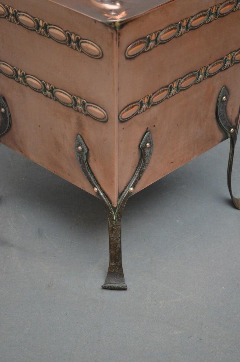 Late 19th Century Arts & Crafts Copper Coal Bin For Sale